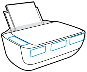 HP printer product name locations on the top or front
