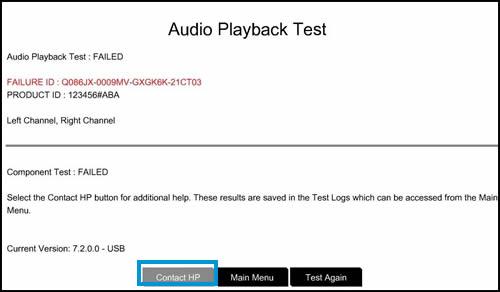 Et eksempel på en mislykket test med Kontakt HP-indstillingen vist