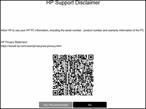 Ejemplo de un código QR de HP Support