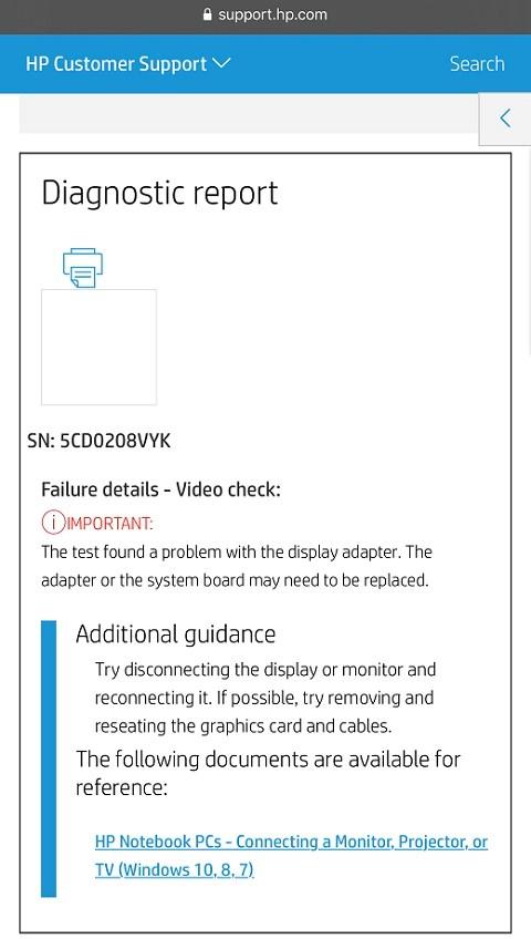 Ejemplo de código de ID de fallo en un dispositivo móvil