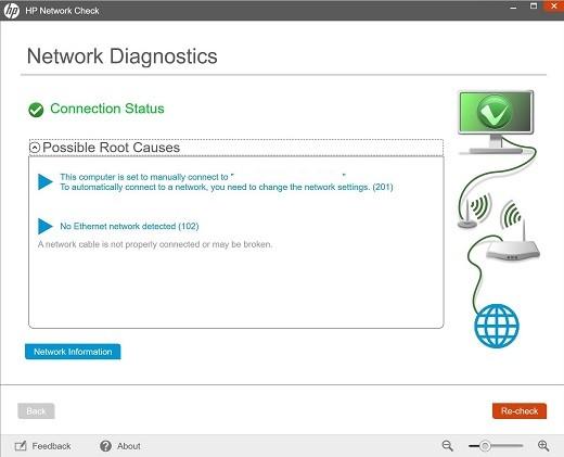État de la connexion – aucun réseau détecté
