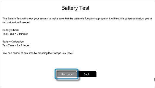 หน้าจอ Battery Test (ทดสอบแบตเตอรี่) ที่เลือก Run once (เรียกใช้หนึ่งครั้ง) ไว้