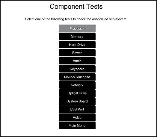 Bileşen Testleri menüsü