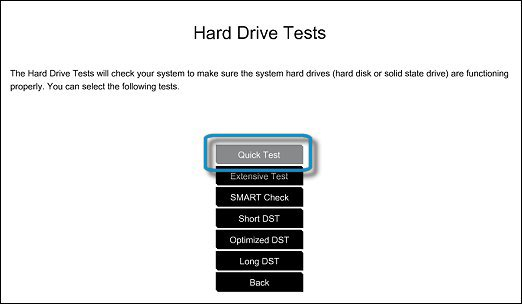 Sabit Sürücü Hızlı Testini seçme