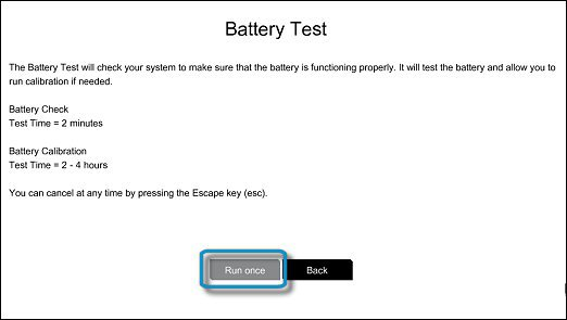 Bir kez çalıştır seçiliyken Pil Testi ekranı