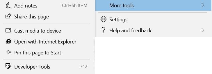 Submenú de herramientas de Edge Más herramientas