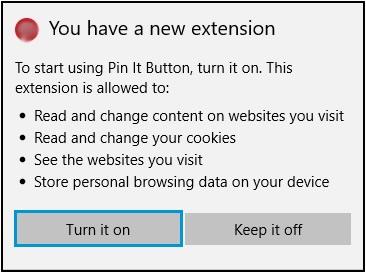 확장 기능 권한 알림이 표시되고 켜기 버튼이 강조 표시된 확장 기능 메뉴