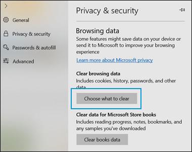 지울 항목 선택이 강조 표시된 개인 정보 및 보안 창