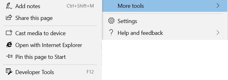 Подменю Дополнительные средства в браузере Edge