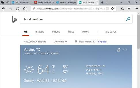 Пример отображения местной погоды в Кортане