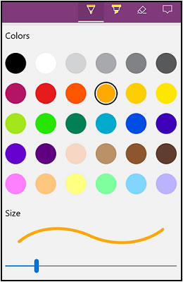 Välj penn-färgen och linjebreddsalternativ