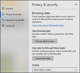 """""""隐私和安全设置""""窗口"""