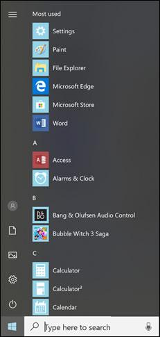Venstre side af menuen Start i Windows 10