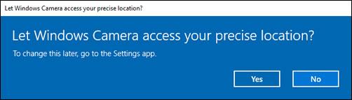 Vælg dine præferencer for at tillade appen Kamera at få adgang til din placering