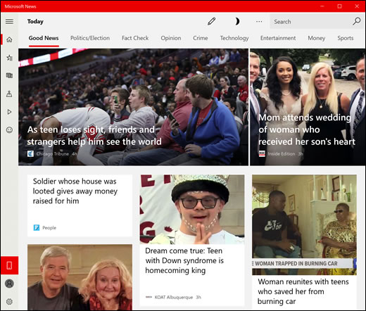 Eksempel på fanen Gode nyheder på app'en Nyheder