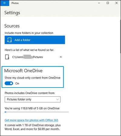 Hinzufügen von Fotos und Videos von OneDrive