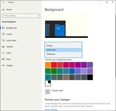 Optionen für Hintergrund und Farbe