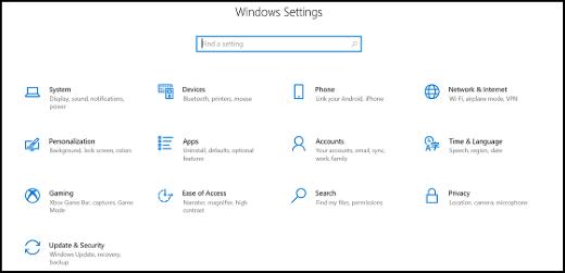 Categorías de aplicaciones de configuración de Windows