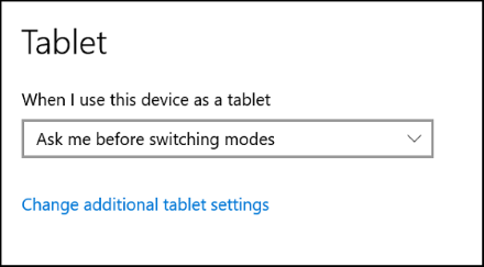 Selección del comportamiento de conmutación del modo tableta