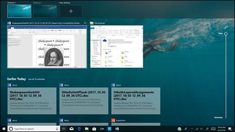 Actividades recientes mostradas en la Línea del tiempo de Windows