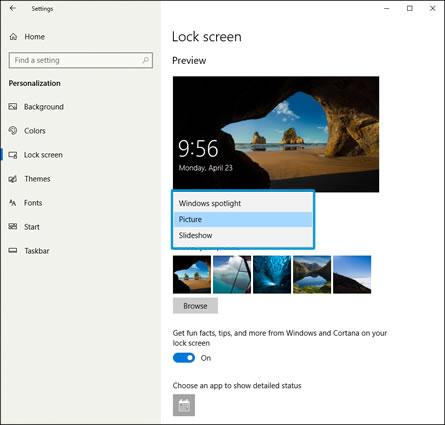 Selección de una imagen en la pantalla de bloqueo