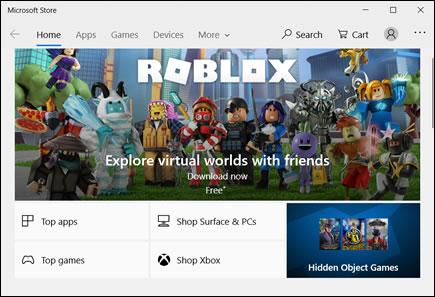 Startpagina van Microsoft Store