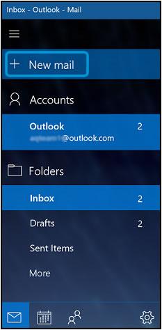 Clique em novo e-mail para criar uma nova mensagem
