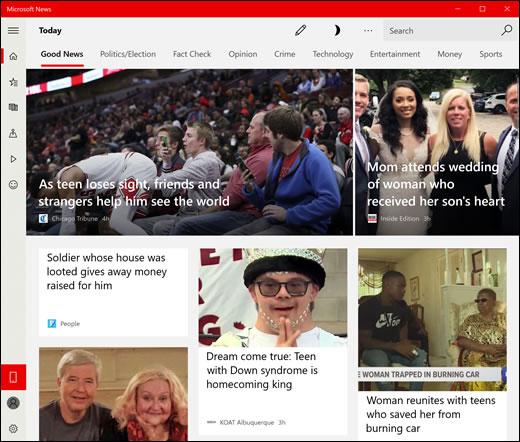Exemplo da guia Boas notícias, no aplicativo Notícias