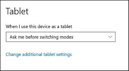 Выбор поведения при переключении в режим планшета