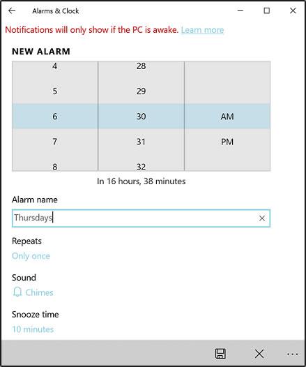 Выбор параметров будильника