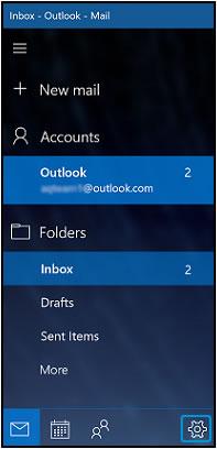 Открытие параметров приложения Почта с помощью значка Параметры