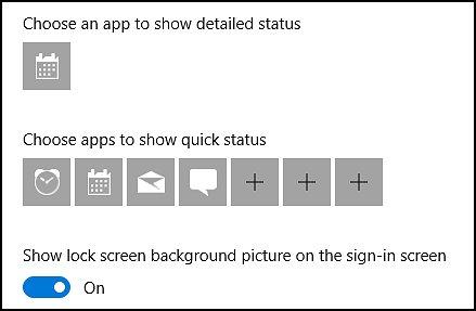選擇鎖定畫面的應用程式和背景圖片