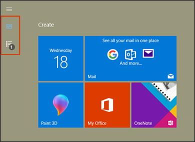 在全螢幕模式中,透過「開始」動態磚找出所有的應用程式和釘選的動態磚圖示