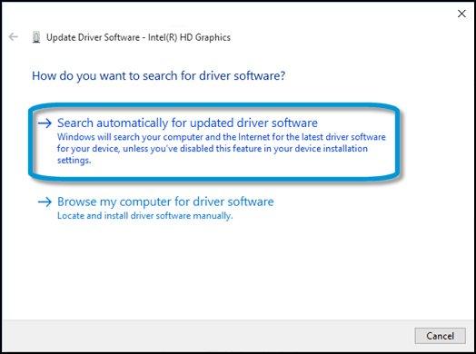 Search automatically for updated driver software (ค้นหาซอฟต์แวร์ไดร์เวอร์อัพเดตอัตโนมัติ) สำหรับกราฟิกการ์ด
