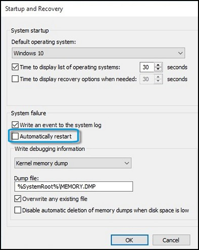 Location of the Automatically restart check box