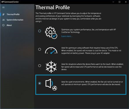 Selecting quiet mode on the Thermal Profile tab