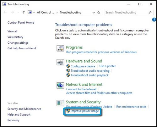 Troubleshoot computer problems with Improve power usage highlighted