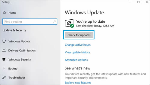 The Windows Update window with Check for updates highlighted