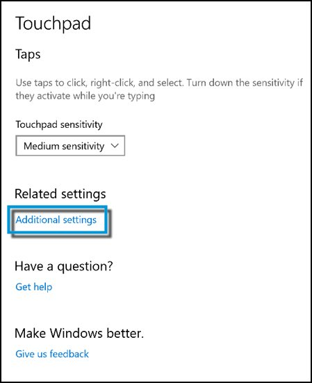 Clicking Additional settings on the Touchpad window