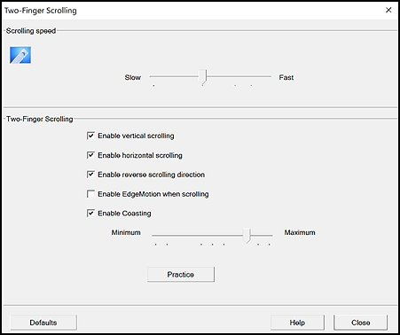 Two-Finger Scrolling settings window