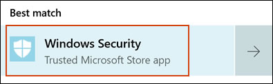 Selecting Windows Security from the Search results