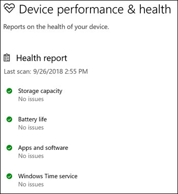 Windows Security Health report