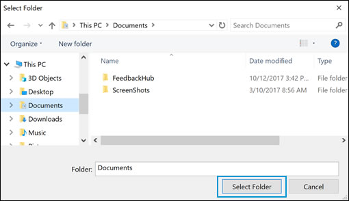 Drives and folders selection options in Windows Security