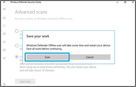 Windows Defender custom scan option Save your work screen