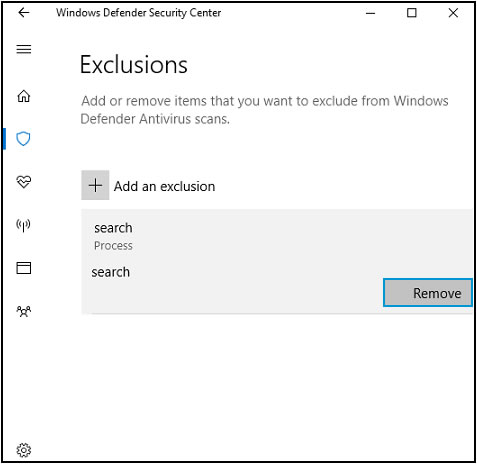 Remove an excluded item