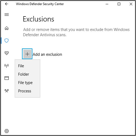 Add an exclusion drop-down menu options