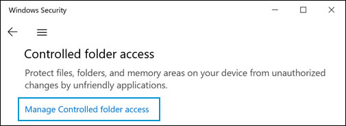 Manage Controlled folder access