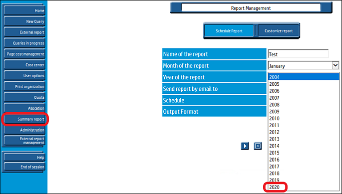 HP Access Control, Summary report page; 2020 is highlighted as last year available