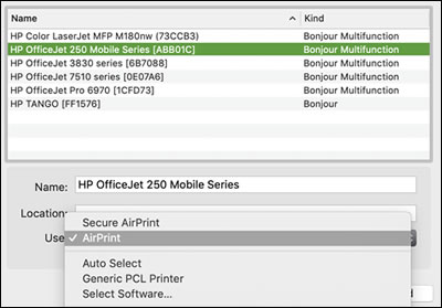 Selección de la impresora en la lista y activación del campo Usar