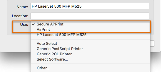 Select Secure AirPrint or AirPrint in the Use drop-down list